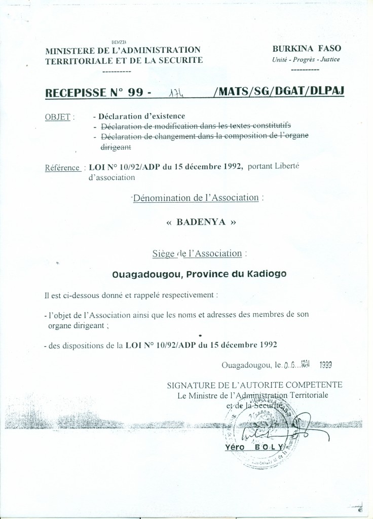 RÉCÉPISSÉ DE DÉCLARATION AUX AUTORITÉS BURKINABÈ