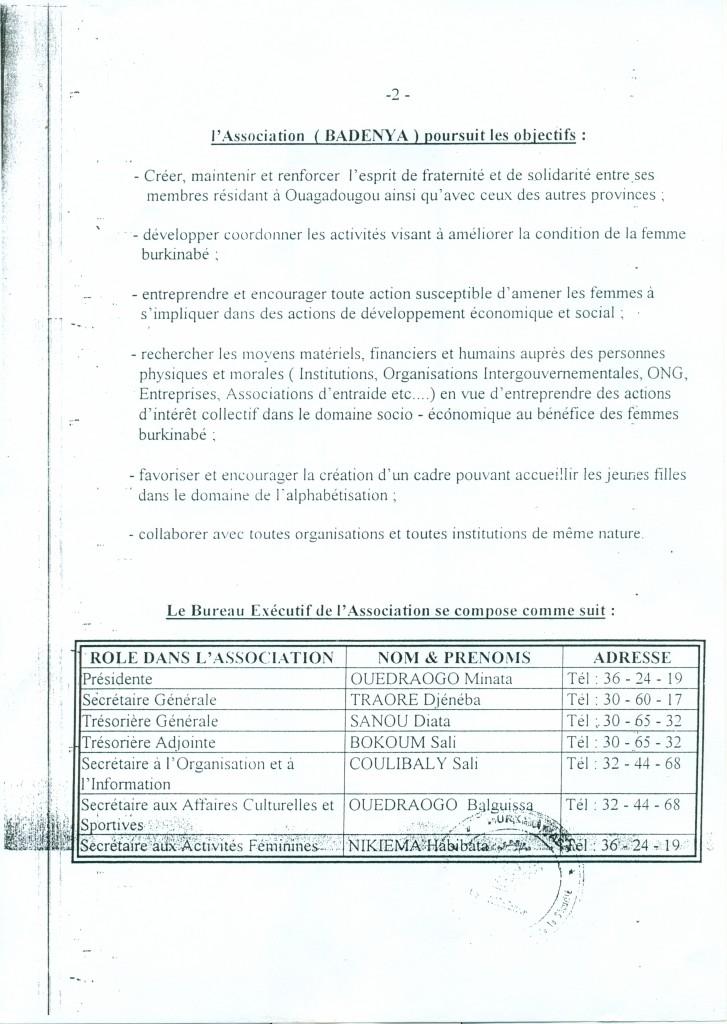 RÉCÉPISSÉ DE DÉCLARATION AUX AUTORITÉS BURKINABÈ suite